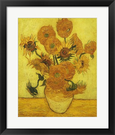 Framed Sunflowers, 1889 Print