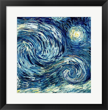 Framed Starry Night, June 1889 Detail B Print