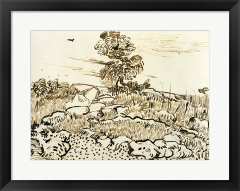Framed Rocky Ground at Montmajour Print