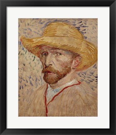 Framed Self Portrait with Straw Hat, 1887 Print