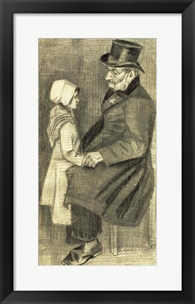 Framed Seated Man with his Daughter, 1882 Print