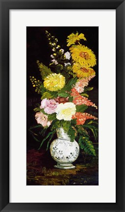 Framed Vase of Flowers, 1886 Print