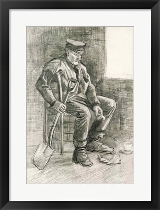 Framed Man with a Spade Resting, 1882 Print