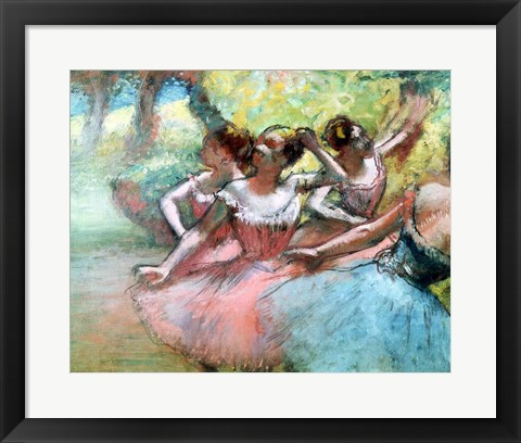 Framed Four ballerinas on the stage Print