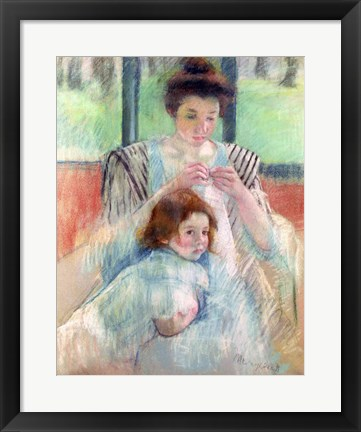 Framed Mother Sewing and Child Print