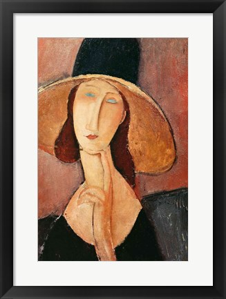 Framed Portrait of Jeanne Hebuterne in a large hat, c.1918-19 Print