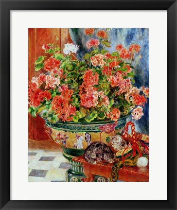 Framed Geraniums and Cats, 1881 Print