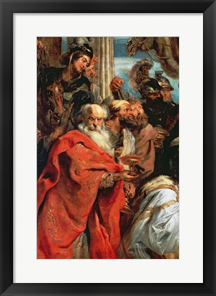 Framed Adoration of the Magi - red garment Print