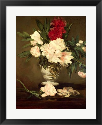Framed Vase of Peonies on a Small Pedestal, 1864 Print