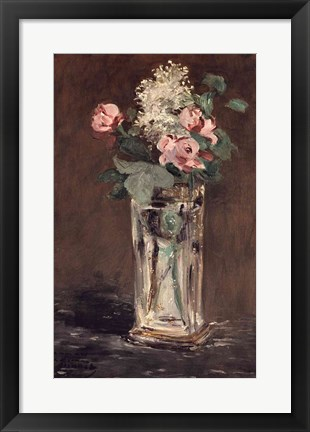 Framed Flowers in a Crystal Vase Print