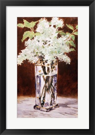 Framed White Lilac in a Crystal Vase, 1882 Print