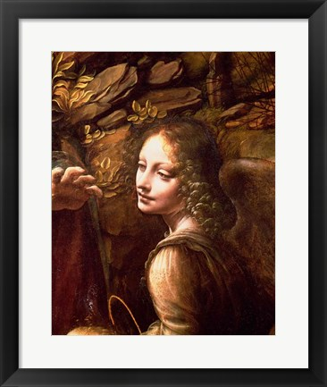 Framed Detail of the Angel, from The Virgin of the Rocks Print