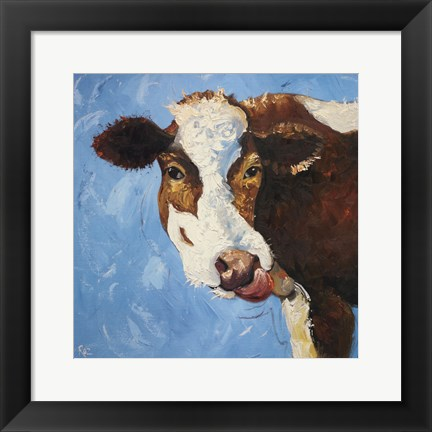 Framed Cow #303 Print