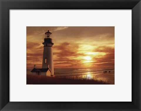 Framed Lighthouse at Sunset Print