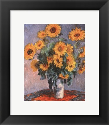 Framed Vase of Sunflowers Print