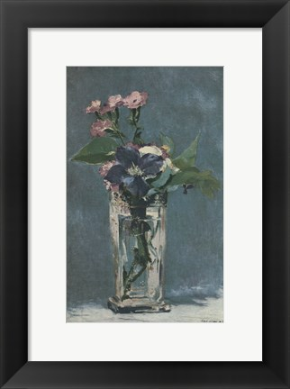 Framed Carnations and Clematis in a Crystal Vase Print