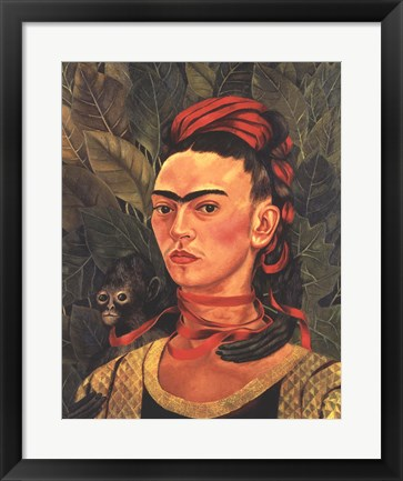 Framed Self Portrait with a Monkey, 1940 Print