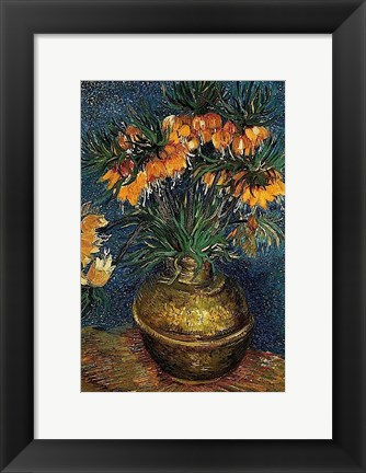 Framed Crown Imperial Fritillaries in a Copper Vase, 1886 Print