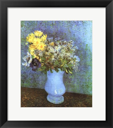 Framed Vase with Lilacs, Daisies and Anemone Print
