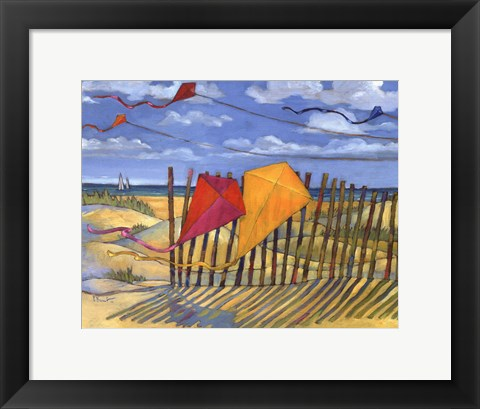 Framed Beach Kites Yellow - mini Print