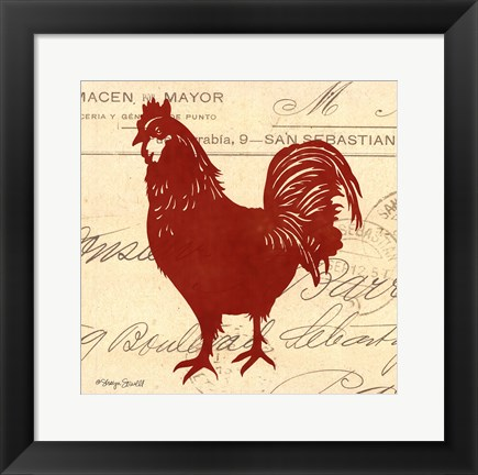 Framed Tuscan Rooster II Print