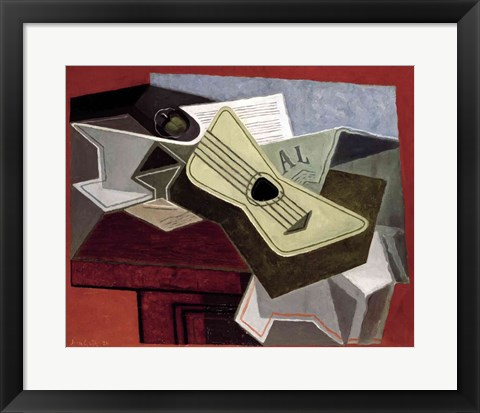 Framed Guitar and Newspaper, 1925 Print