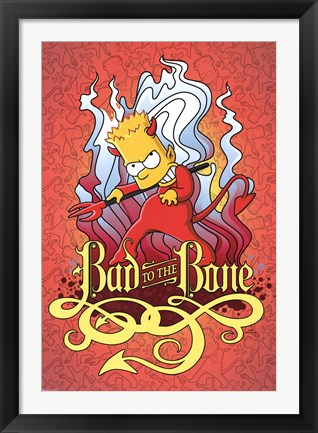 Framed Simpsons - Bad to the Bone Print