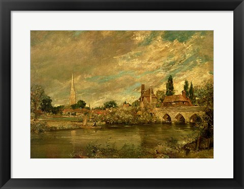 Framed Bridge of Harnham and Salisbury Cathedral Print
