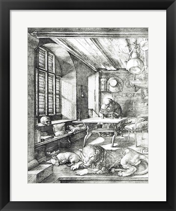 Framed St. Jerome in his Study, 1514 Print