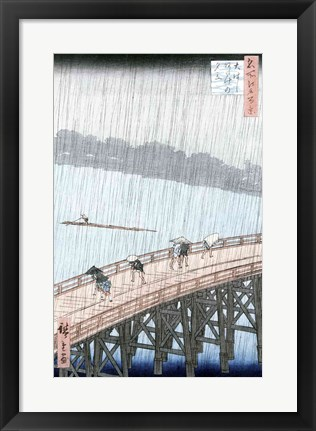 Framed Sudden Shower over Shin-Ohashi Bridge Print