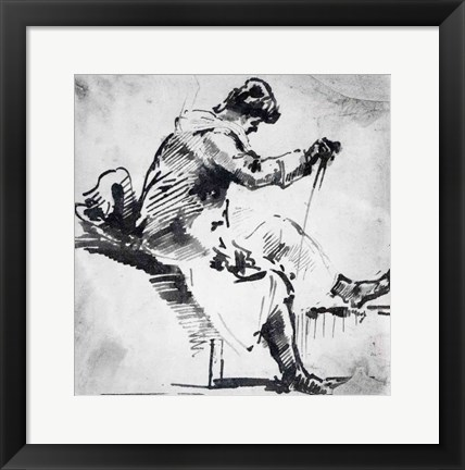 Framed Seated man Print