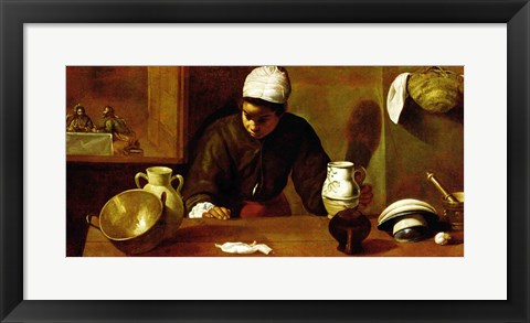 Framed Kitchen Maid with the Supper at Emmaus, c.1618 Print