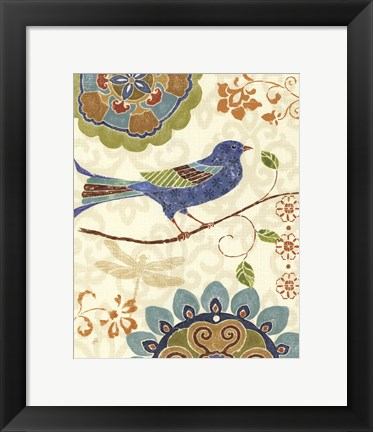Framed Eastern Tales Birds I Print