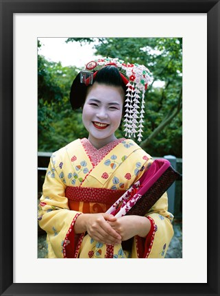 Framed Smiling Japense Geisha Print