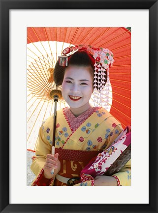 Framed Young Geisha with Umbrella Print
