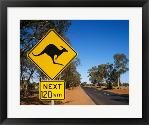 Framed Kangaroo crossing sign, Australia Print