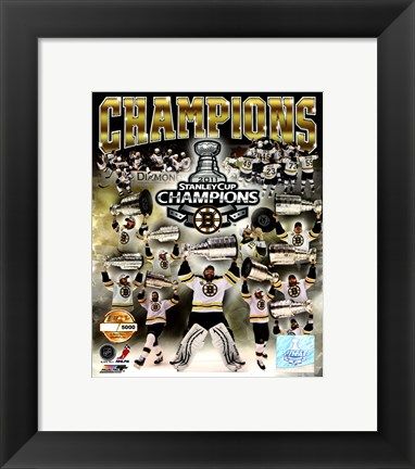 Framed Boston Bruins 2011 NHL Stanley Cup Finals Champions Limited Edition PF Gold (5000 8x10's, 500 each enlargement size) Print