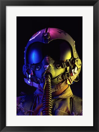 Framed Fighter Pilot in full attire, United States Air Force Print