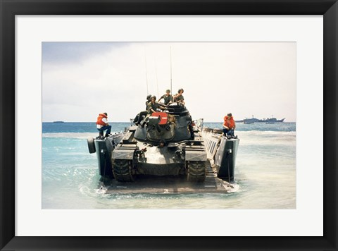 Framed Army soldiers on a military tank in the sea, M551 Sheridan Print