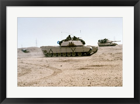 Framed Kuwait: Two M-141 Abrams Main Battle Tanks Print