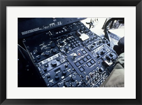 Framed Central Control Console in the Cockpit of a UH-60A Black Hawk Helicopter Print