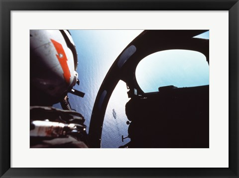 Framed Ocean viewed from a cockpit, Atlantic Ocean Print
