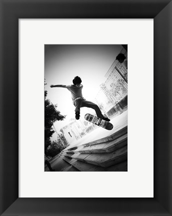 Framed Skateboarding Black And White Print