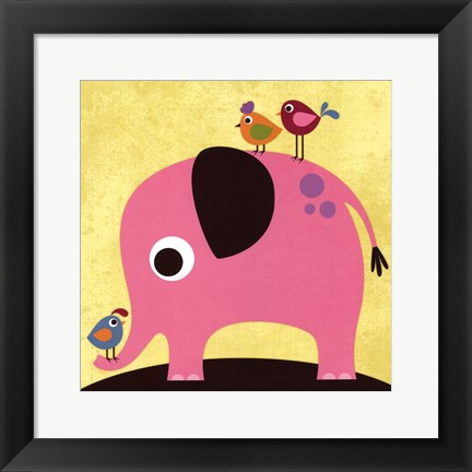 Framed Elephant with Birds Print