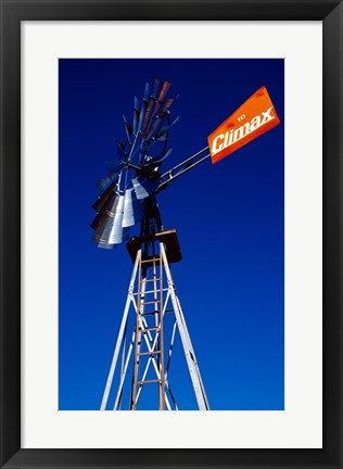 Framed Orange Climax Windmill Texas, USA Print