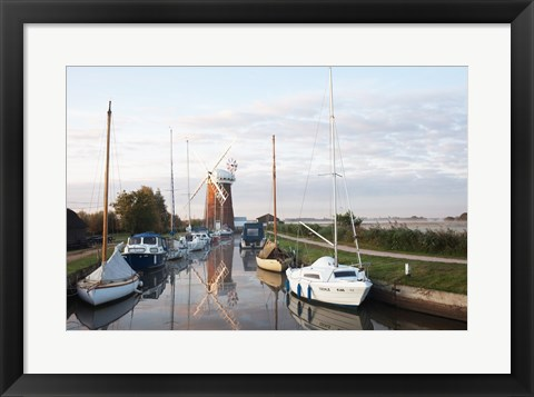 Framed Drainage windmill at the riverside, Horsey Windpump, Horsey, Norfolk, East Anglia, England Print