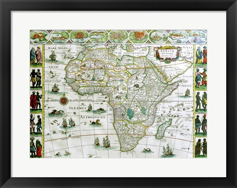 Framed Close-up of the map of Africa, Joan Bleau, 1630 Print