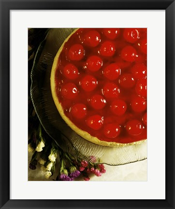 Framed Close-up of a cherry covered cheesecake Print