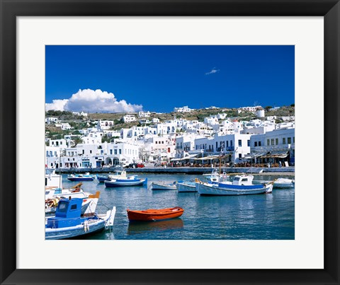Framed Town View, Mykonos, Cyclades Islands, Greece Print