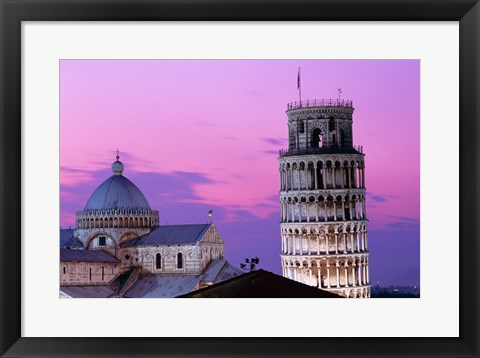 Framed Tower at night, Leaning Tower, Pisa, Italy Print